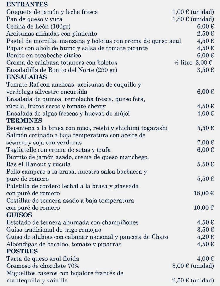 carta Comida de Familia Murcia